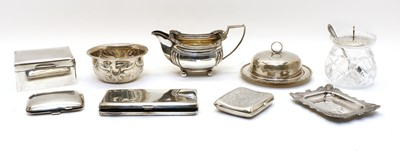 Lot 63 - Eight various silver items and a silver mounted pot