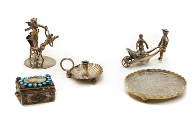 Lot 77 - A collection of silver and plated miniature items