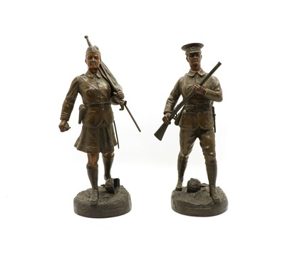 Lot 58 - Fugere, a pair of patinated spelter figures