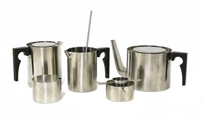 Lot 595 - A Stelton 'Cylinda-line' stainless steel tea set