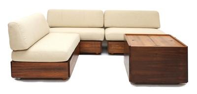 Lot 598 - A three-piece rosewood modular corner suite, §