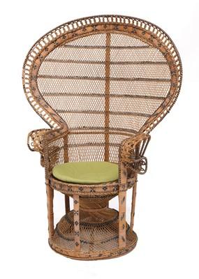 Lot 597 - An Emmanuelle wicker peacock chair