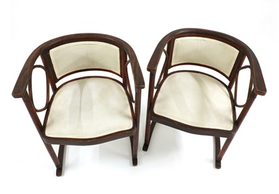 Lot 9 - A pair of Viennese Secessionist 'Fledermaus' armchairs