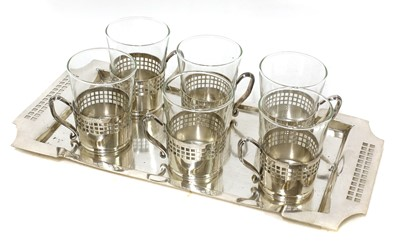 Lot 8 - An Austrian Secessionist silver-plated tea service