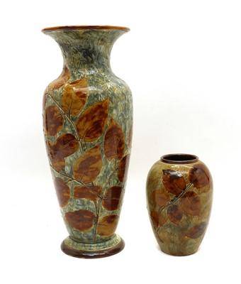 Lot 65 - A large Doulton stoneware 'Foliageware' vase