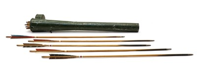Lot 18 - Archery; a tin plate quiver of target arrows by Buchanan of Piccadilly