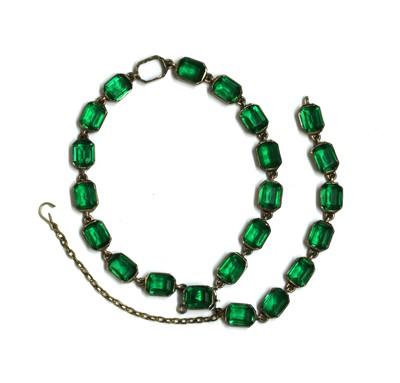 Lot 26 - A silver two row green paste bracelet