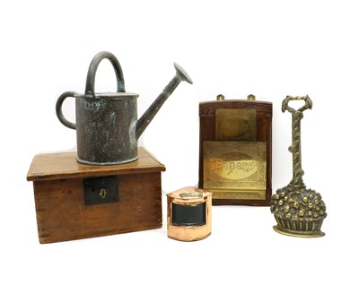 Lot 78 - A wooden box with metal items