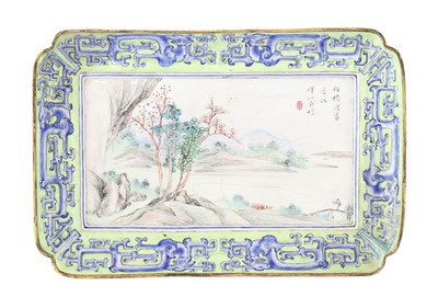 Lot 170 - A Chinese Canton painted enamel tray