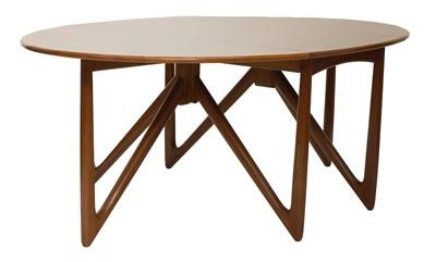 Lot 491 - A Danish teak 'Oval-Klap' dining table