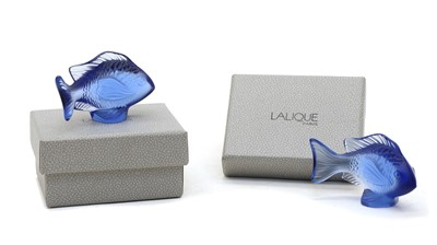 Lot 85 - Two boxed Lalique glass fish
