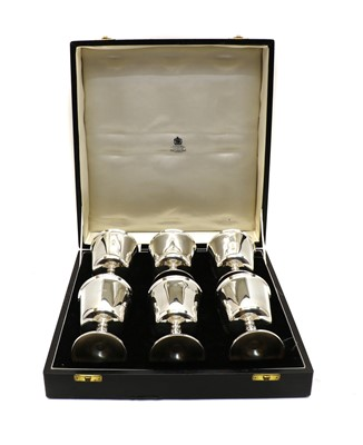 Lot 13 - A set of six Mappin & Webb silver wine goblets