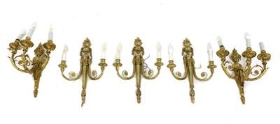 Lot 50 - A pair of gilt-bronze three-branch wall lights