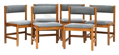 Lot 569 - A set of six oak dining chairs