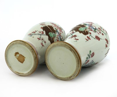 Lot 52 - A pair of Chinese export famille rose vases