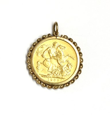 Lot 99 - An Edward VII sovereign pendant