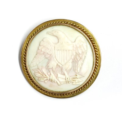 Lot 22 - A gold mounted shell cameo brooch