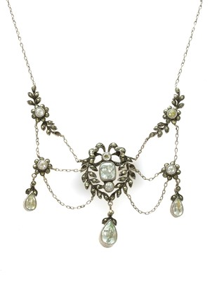 Lot 27 - An early 20th century silver paste and marcasite set swag necklace