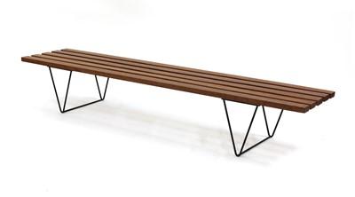Lot 560 - A teak slatted bench