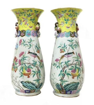Lot 57 - A pair of Chinese famille rose vases