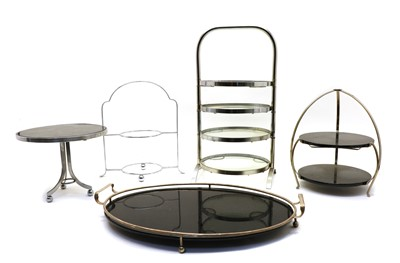 Lot 104 - A collection of Art Deco plated stands and trays