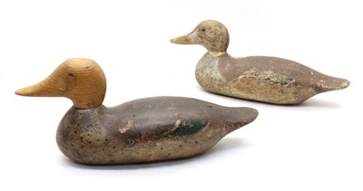 Lot 36 - Two carved wood and painted duck decoys