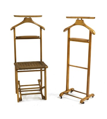 Lot 525 - A beechwood and paper cord folding valet chair