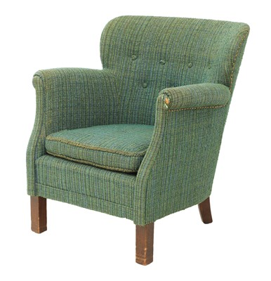 Lot 472 - A green and blue upholstered armchair