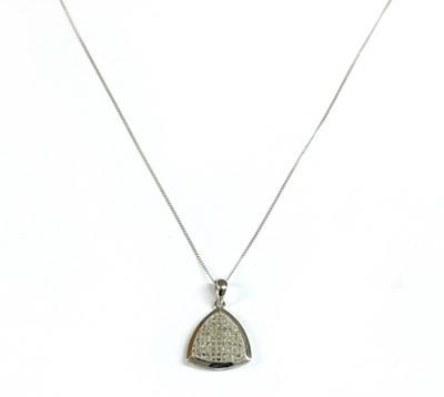 Lot 89 - A white gold diamond pendant