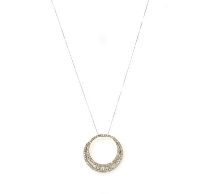 Lot 87 - A white gold diamond pendant
