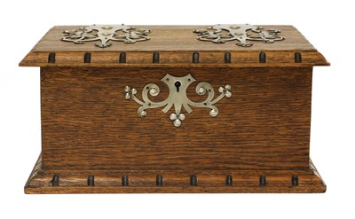 Lot 71 - An Arts and Crafts oak and pewter-mounted casket