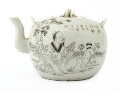Lot 67 - An unusual Chinese engraved teapot and cover