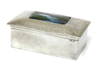 Lot A Liberty Tudric pewter and enamel jewellery box