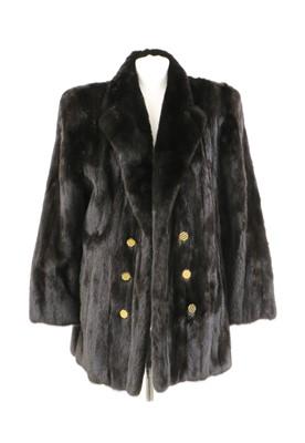 Lot 103 - A double breasted dark brown mink fur blazer