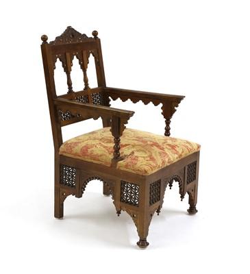 Lot 33 - An Aesthetic Movement Moorish mahogany armchair