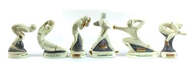 Lot 460 - A set of six Rome XVII Olympiad (summer 1960) figural souvenir bottles