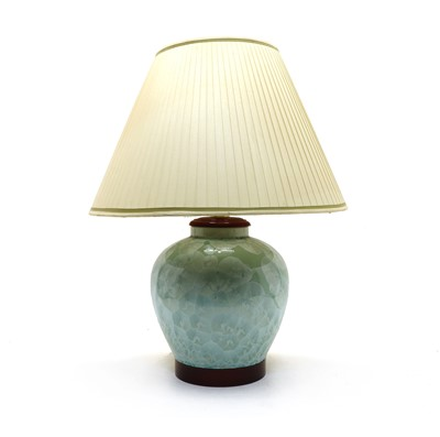 Lot 51 - A modern green-glazed porcelain table lamp