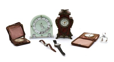 Lot 84 - A French tortoiseshell and brass mantle clock