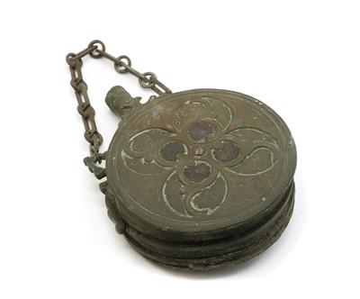 Lot 37 - An Ottoman copper and brass gunpowder flask