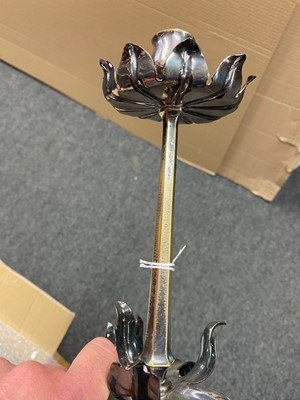 Lot 65 - An Arts and Crafts silver-plated candlestick