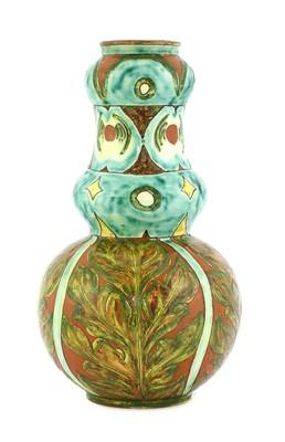 Lot 16 - A Della Robbia pottery double gourd vase