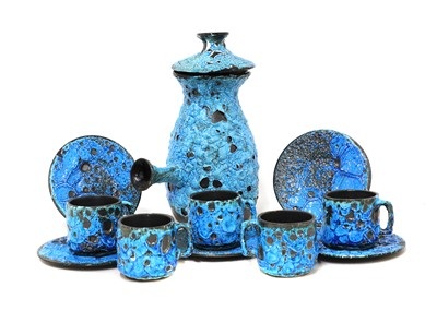 Lot 547 - A 'Fat Lava' coffee set for four