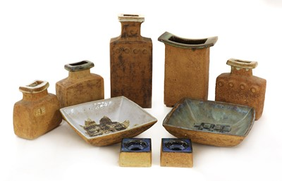 Lot 545 - A collection of nine brutalist stoneware items