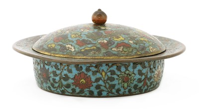 Lot 163 - A Chinese cloisonné zhadou and cover