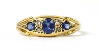 Lot 5 - A gold sapphire and diamond ring