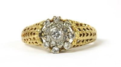 Lot 63 - An 18ct gold diamond cluster ring