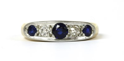 Lot 6 - A gold sapphire and diamond five stone ring