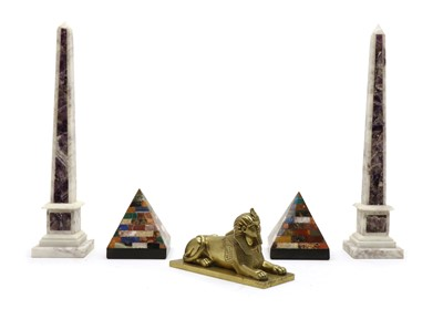 Lot 68 - A pair of white marble obelisks