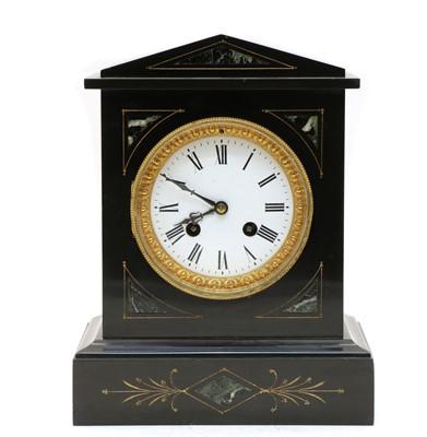 Lot 71 - A Victorian black slate mantel clock