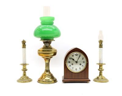 Lot 68 - An Edwardian inlaid mahogany lancet form mantel clock